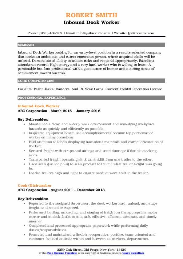 Inbound Dock Worker Resume Example