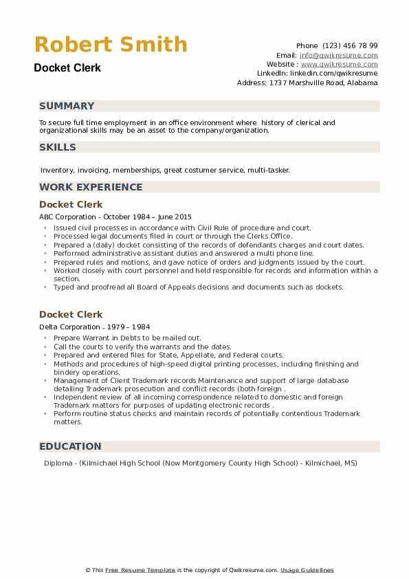 Docket Clerk Resume example
