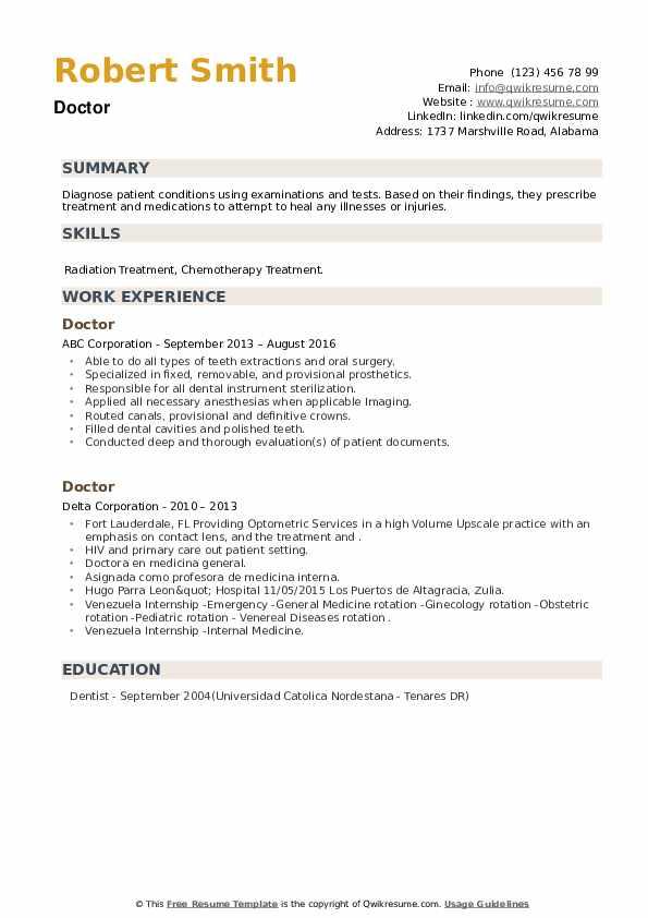 Doctor Resume example