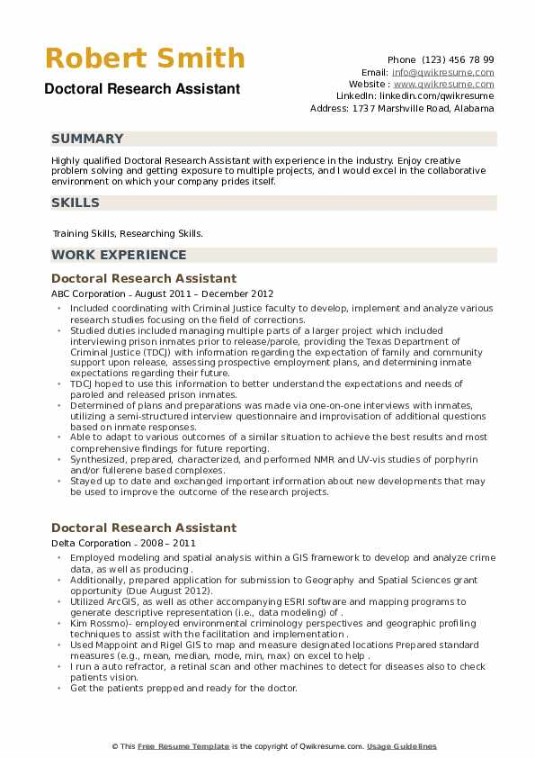 Doctoral Research Assistant Resume example