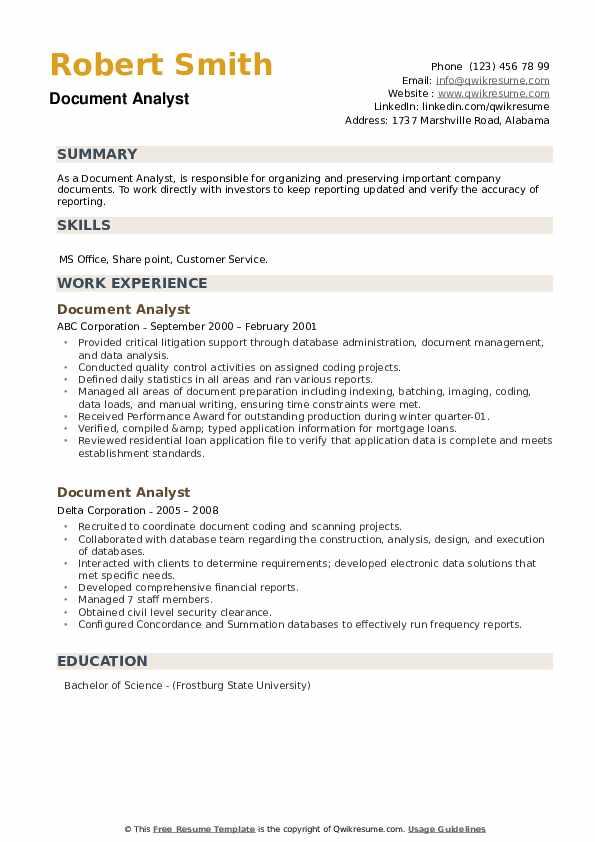 Document Analyst Resume example