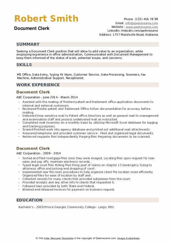 Document Clerk Resume example