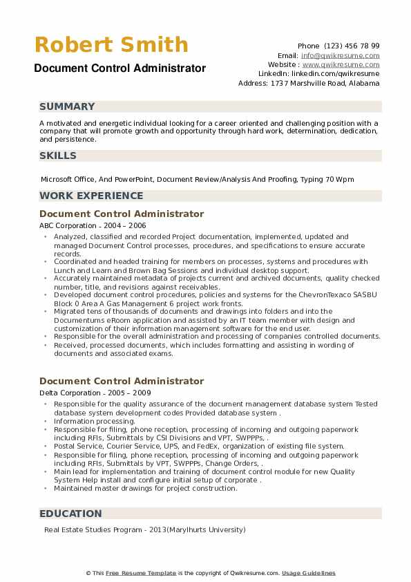 Document Control Administrator Resume example