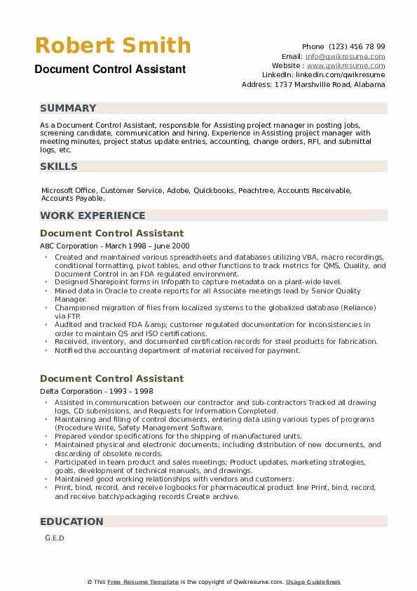 Document Control Assistant Resume example