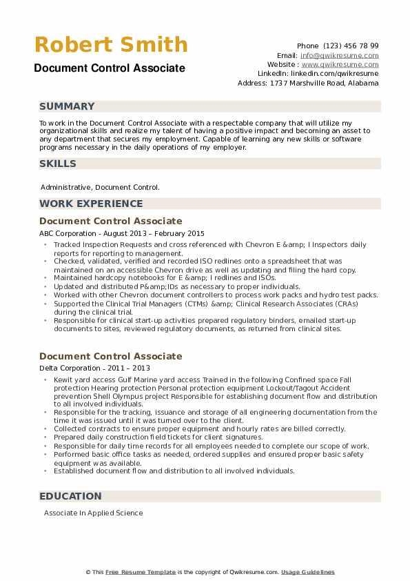 Document Control Associate Resume example