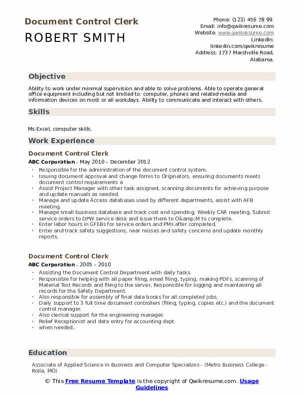 Document Control Clerk Resume Template