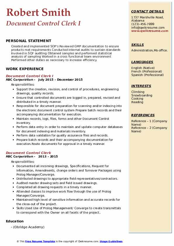 Document Control Clerk Resume Samples Qwikresume