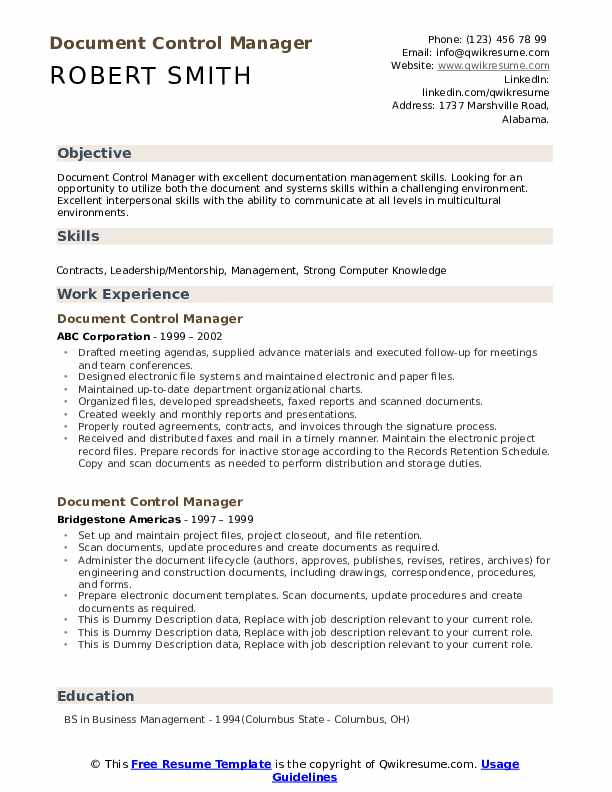 Document Control Manager Resume example