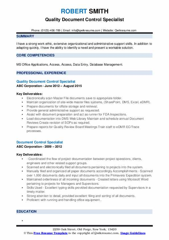 Quality Document Control Specialist Resume Template