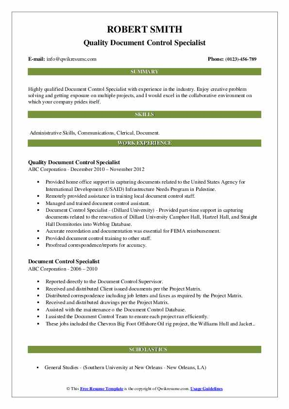 Document Control Specialist Resume Samples | QwikResume