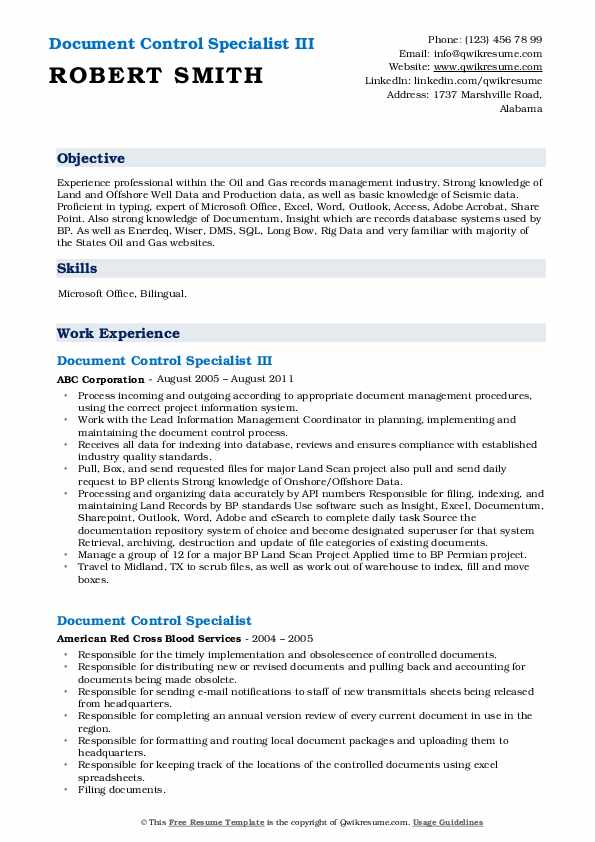 Document Control Specialist III Resume Format