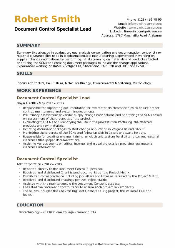 Document Control Specialist Lead Resume Model
