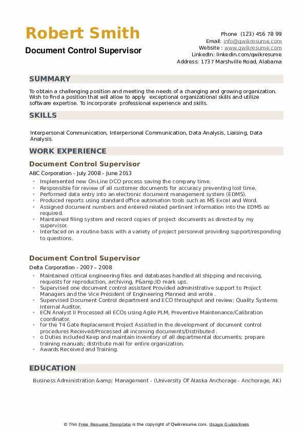 Document Control Supervisor Resume example