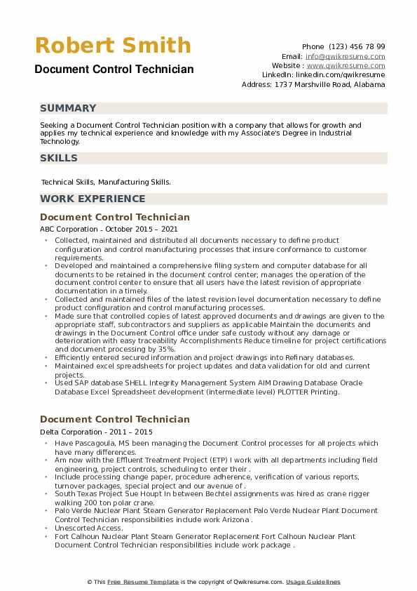 Document Control Technician Resume example