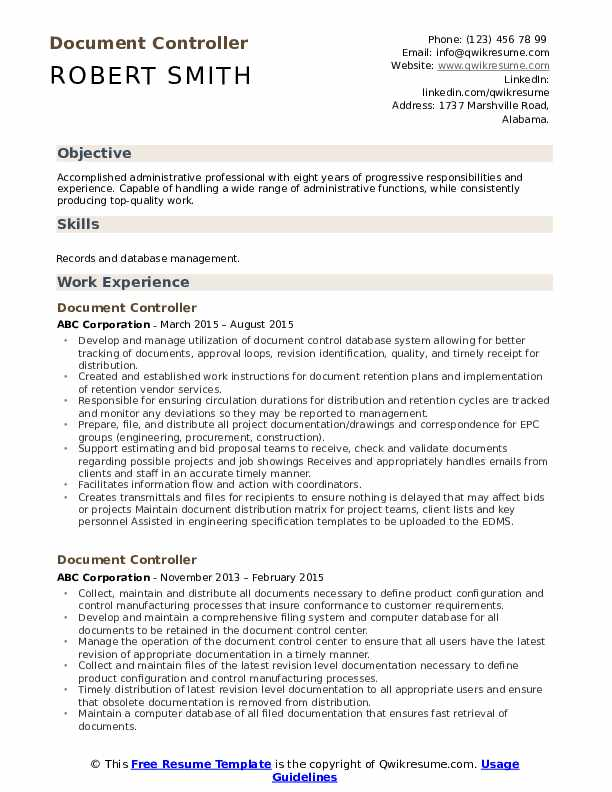Document Controller Resume Template