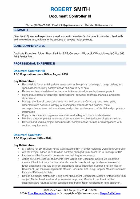 Document Controller III Resume Format