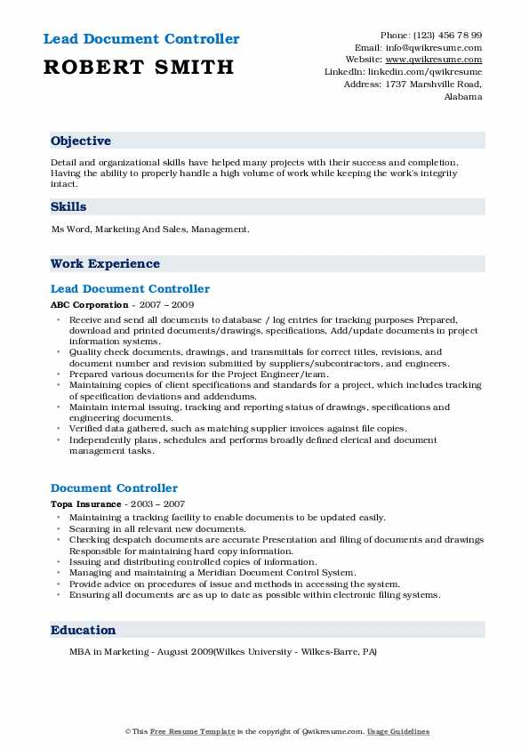 Lead Document Controller Resume Format