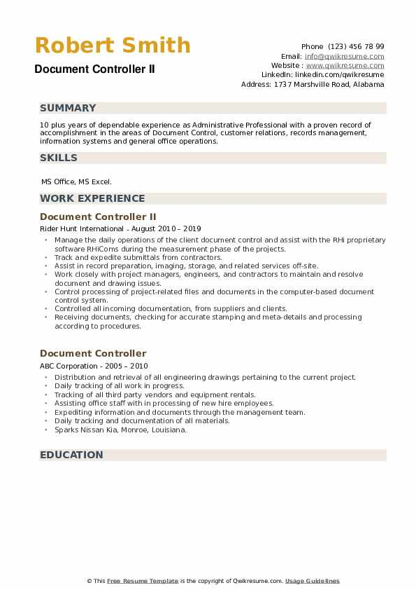 Document Controller II Resume Model