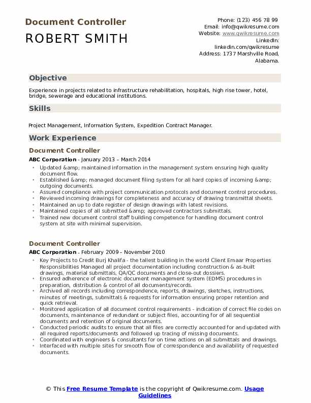 Document Controller Resume example