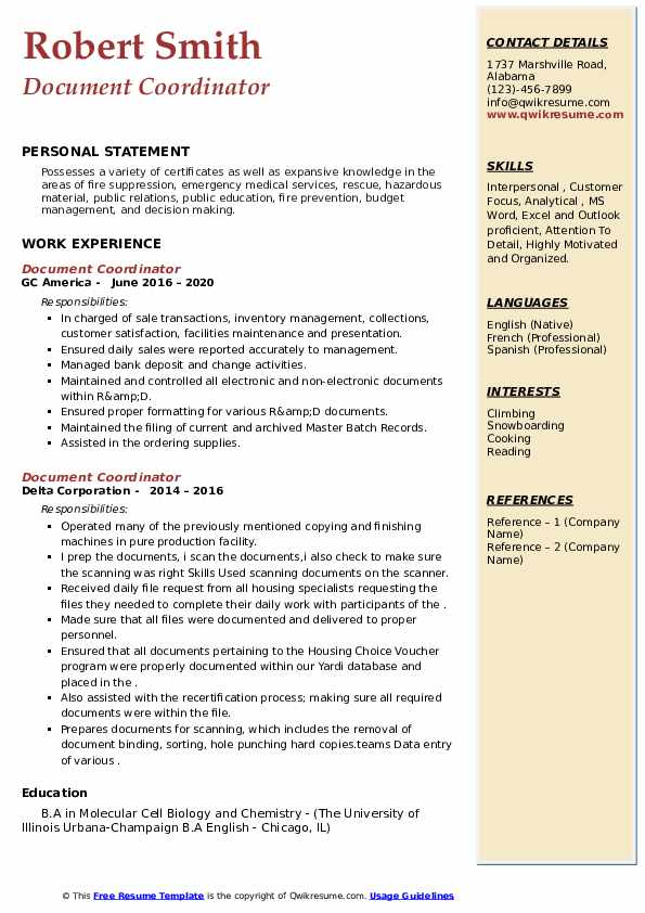 Document Coordinator Resume example
