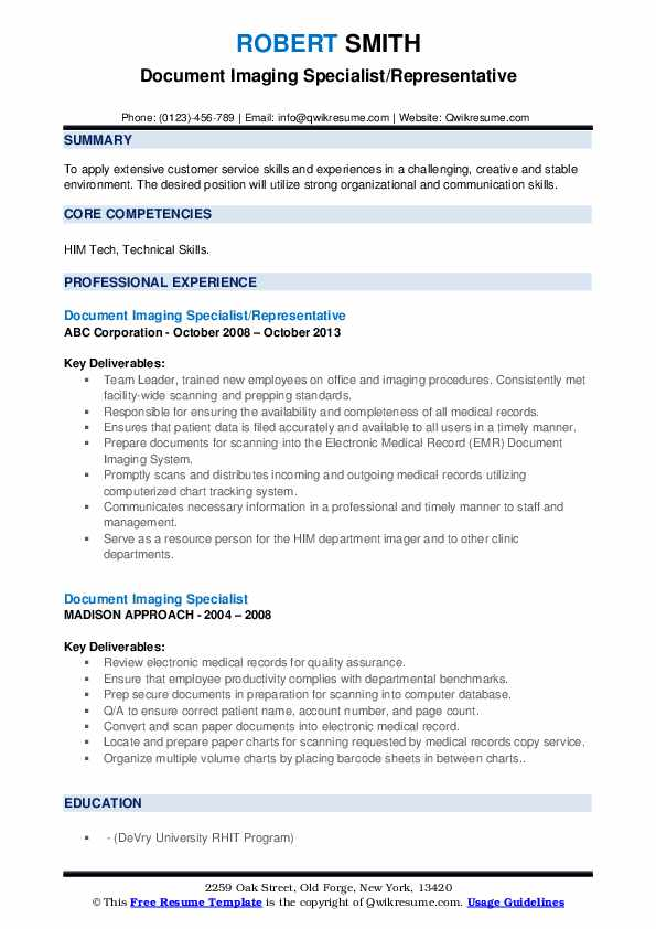 document imaging specialist resume samples  qwikresume