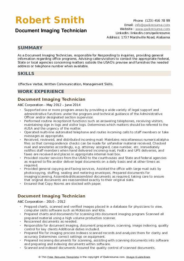 Document Imaging Technician Resume example