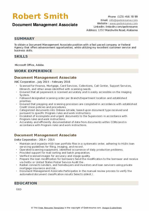 Document Management Associate Resume example