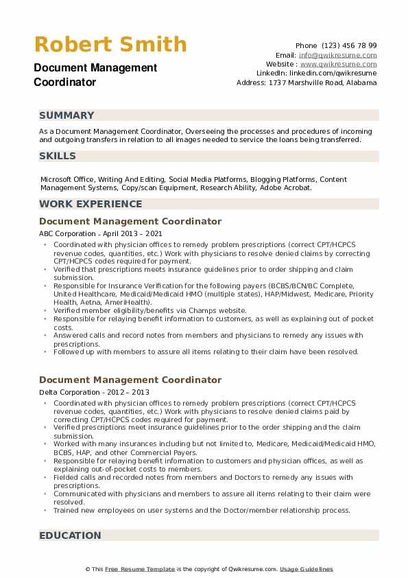 Document Management Coordinator Resume example