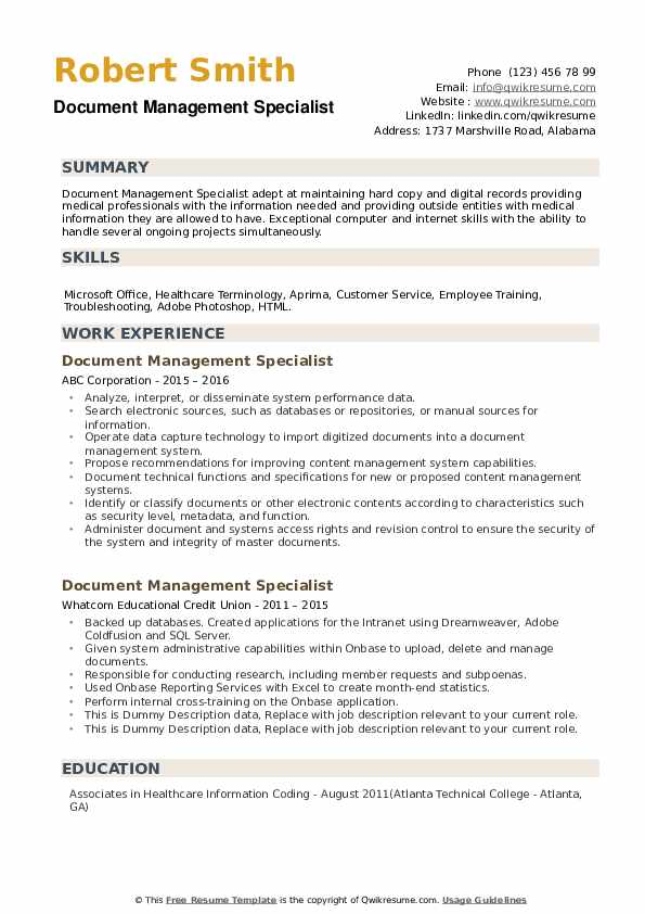 Document Management Specialist Resume example