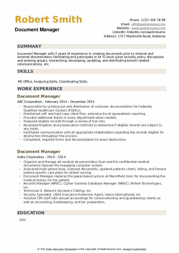 Document Manager Resume example