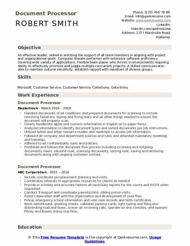 Document Processor Resume Format