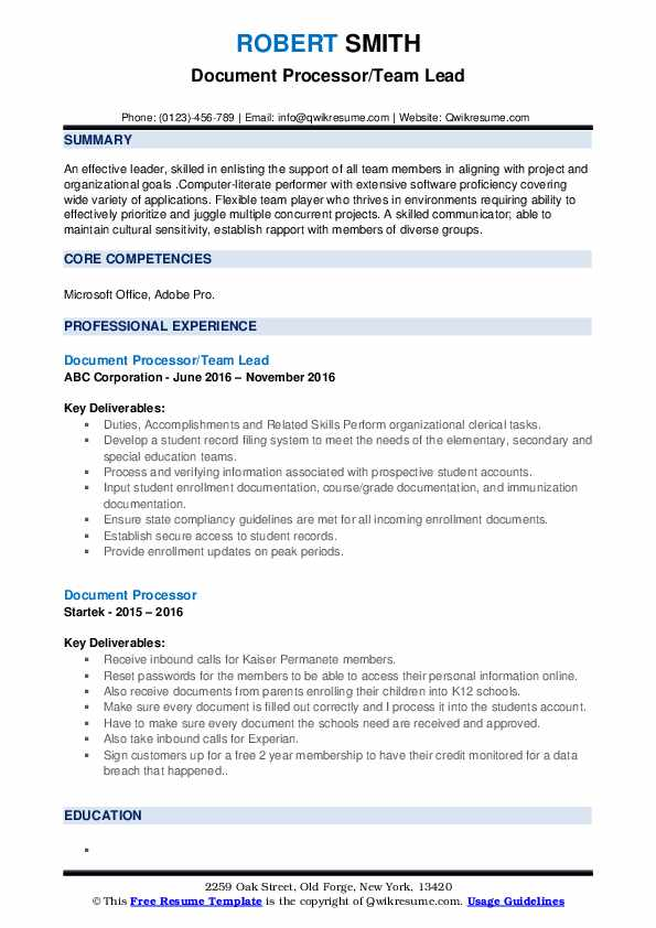 Document Processor/Team Lead Resume Format