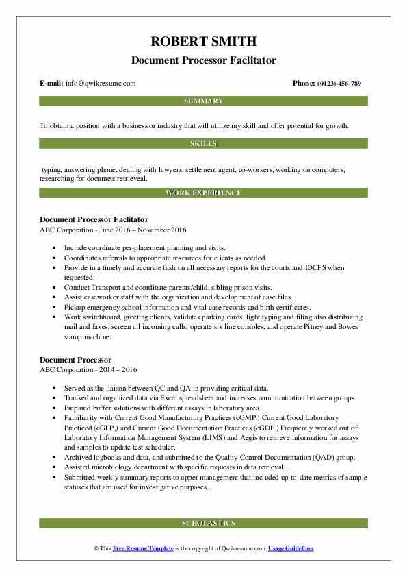 Document Processor Faclitator Resume Model