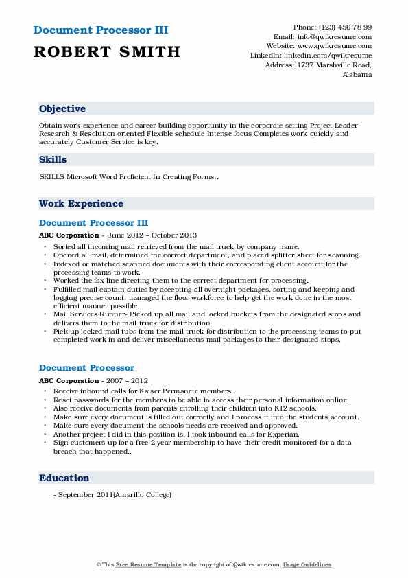 Document Processor III Resume Model