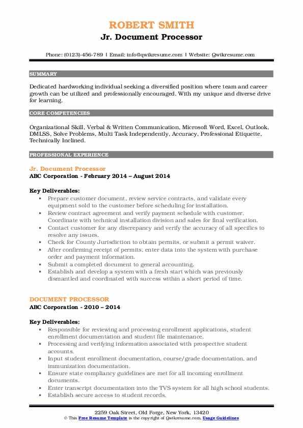 Jr. Document Processor Resume Sample