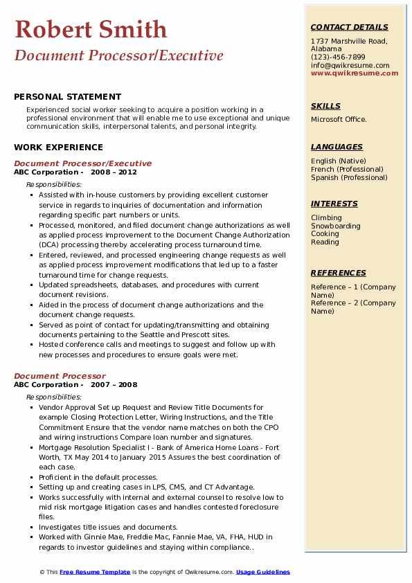 Document Processor/Executive Resume Model