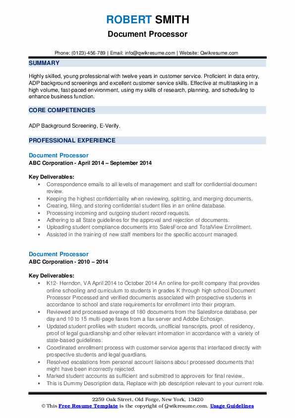 Document Processor Resume example