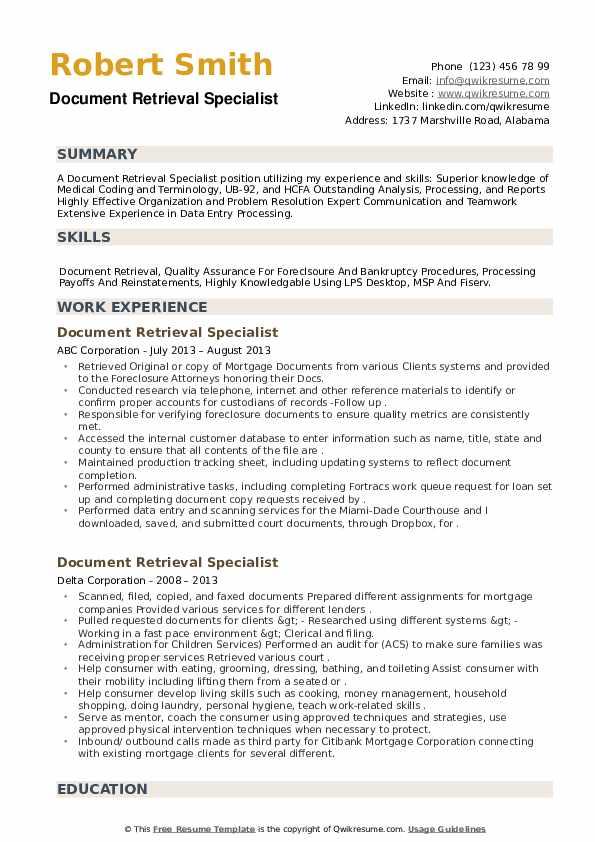 Document Retrieval Specialist Resume example