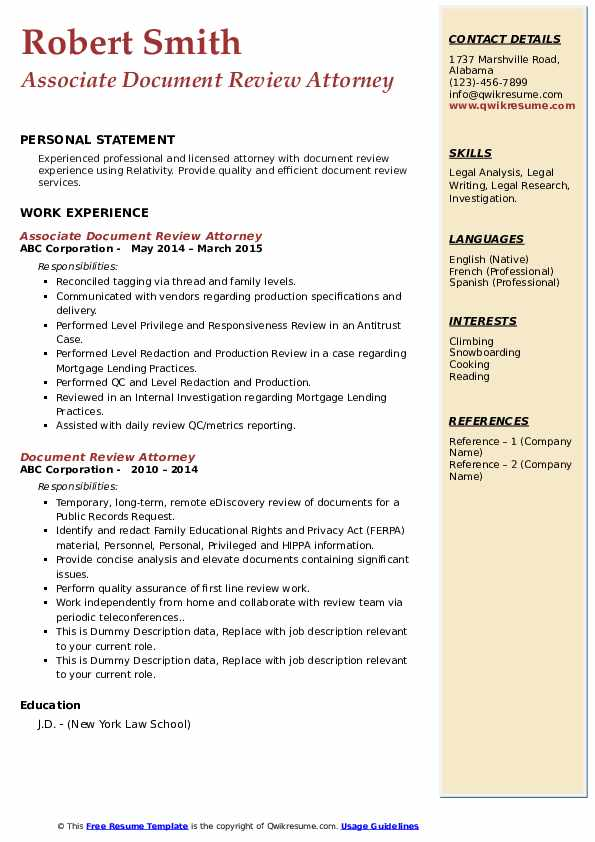 Doc review attorney resume