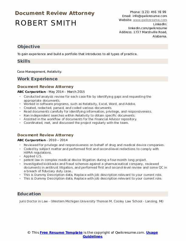 document review attorney resume samples