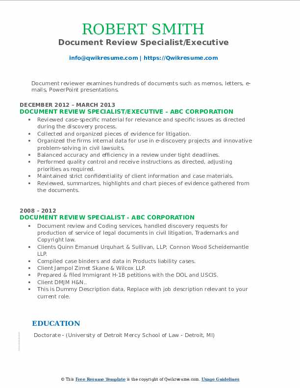 document review specialist resume samples