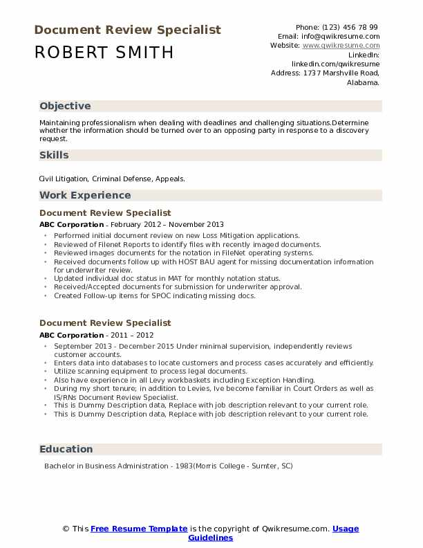 Document Review Specialist Resume example
