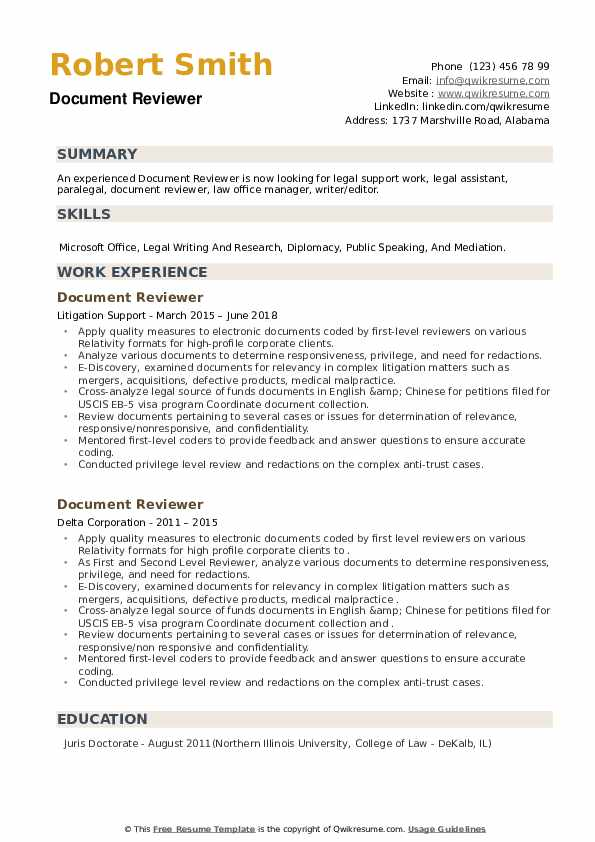Document Reviewer Resume example