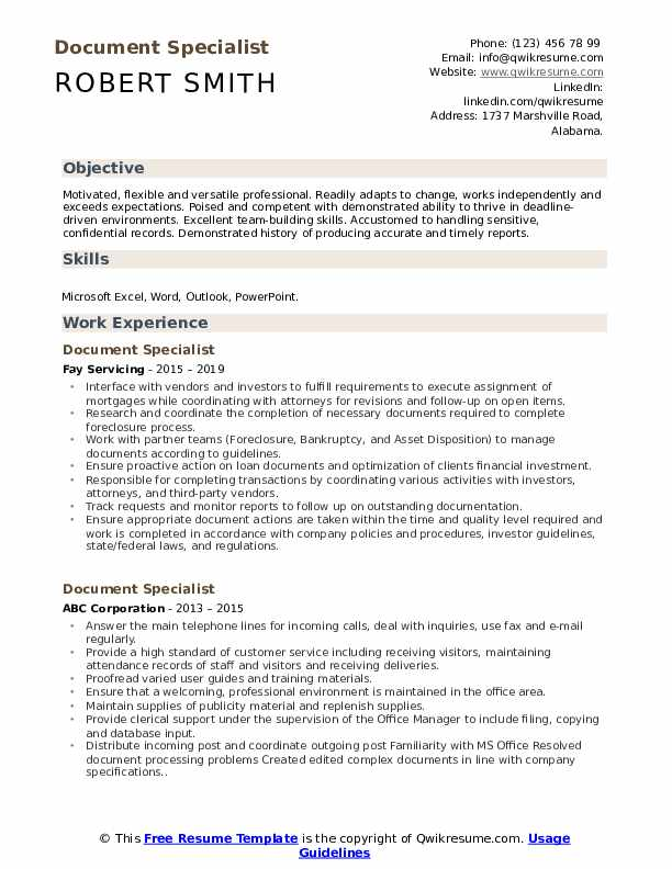 Document Specialist Resume Example