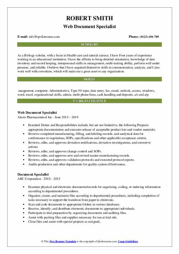 Web Document Specialist Resume Template