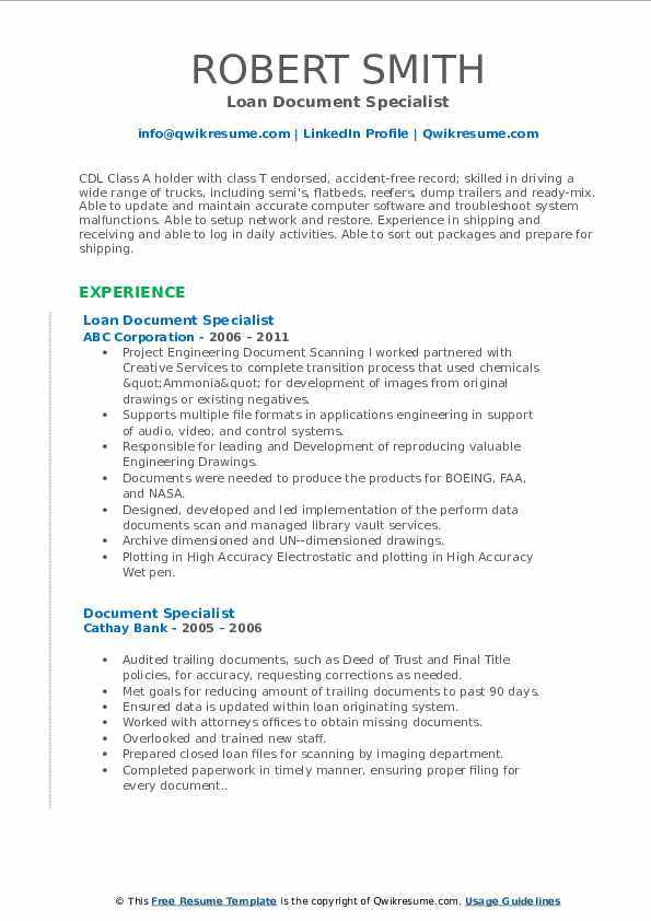 Loan Document Specialist Resume Template