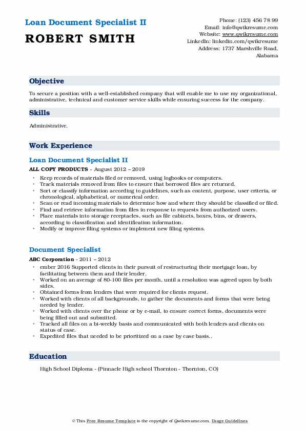 Loan Document Specialist II Resume Example
