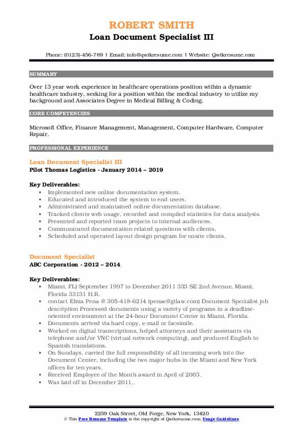 Loan Document Specialist III Resume Template