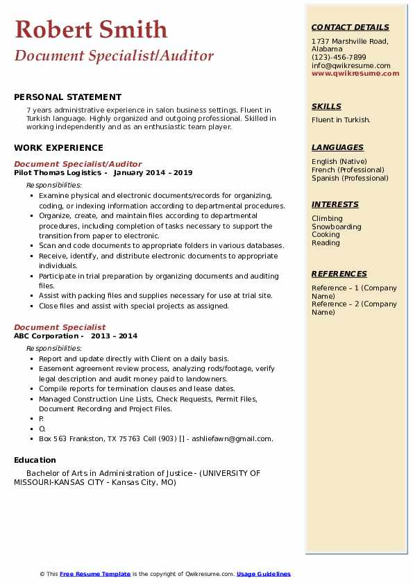 Document Specialist/Auditor Resume Sample