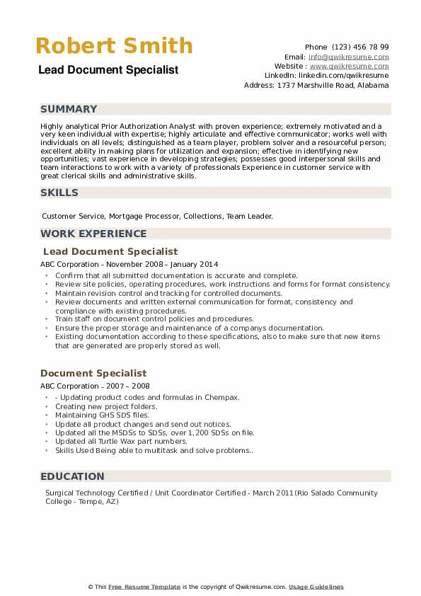 Lead Document Specialist Resume Format